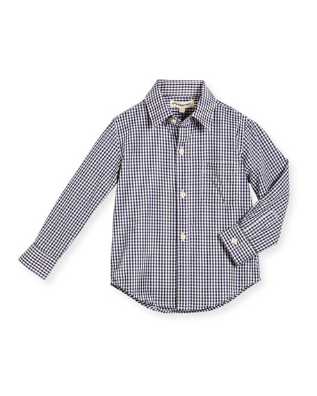 Long-Sleeve Cotton Gingham Shirt, Blue, Size 2-14