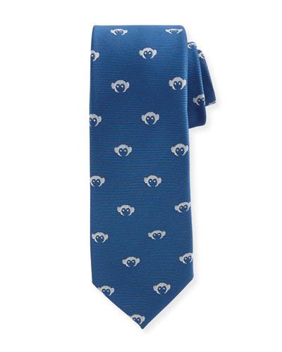 Faille Logo-Print Tie, Blue