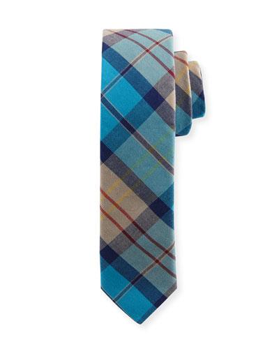 Cotton Plaid Tie, Teal