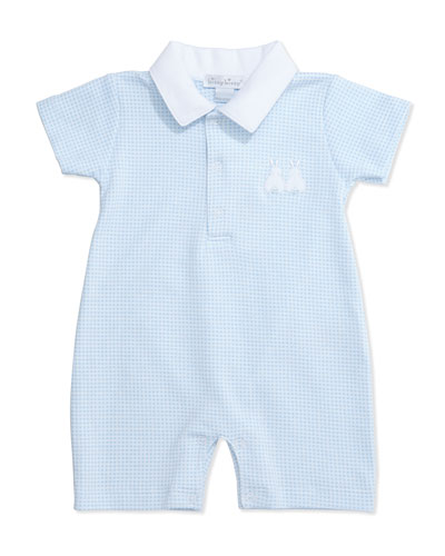 Cottontail Pima Gingham Shortall, Light Blue, Size 0-18 Months