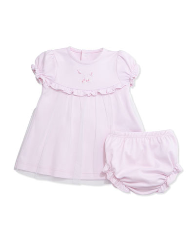 Summer Garden Pima Shift Dress w/ Bloomers, Pink, Size 3-9 Months