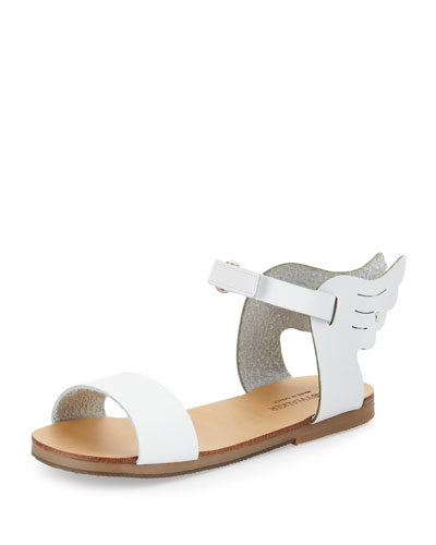 Winged Leather Sandal, White, Size 6-10
