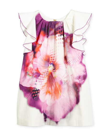 Zoe Floral Flutter-Sleeve Shift Dress, Purple/Pink/White