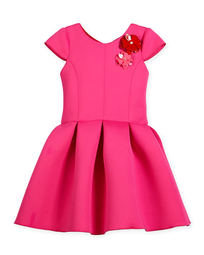 Cap-Sleeve Neoprene Pleated Party Dress, Hot Pink, Size 4-6