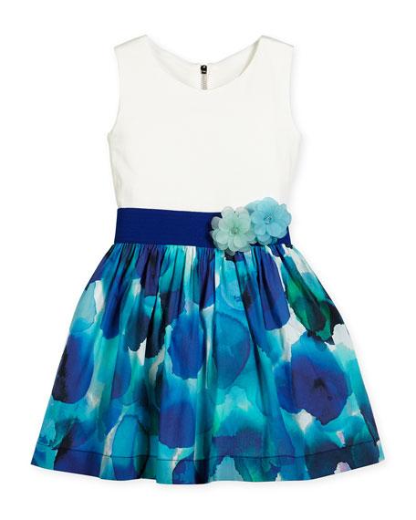 Zoe Sleeveless Watercolor A-Line Dress, Blue/White, Size 4-6