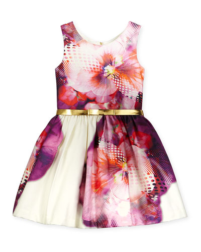 Sleeveless Floral Party Dress, Purple/White, Size 7-16