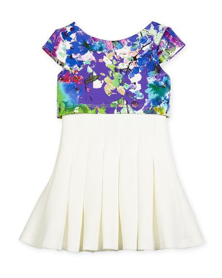 Zoe Cap-Sleeve Floral-Trim Flyaway Dress, Cream, Size 7-16