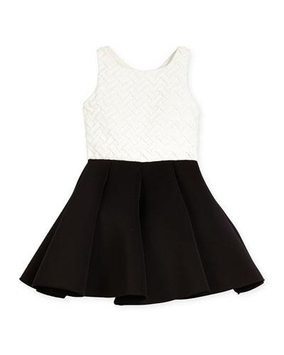 Colorblock Basketweave-Bodice Swing Dress, Cream/Black, Size 7-16