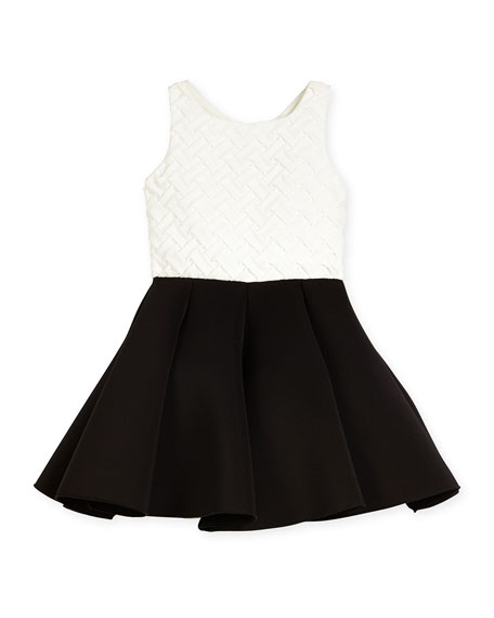 Zoe Colorblock Basketweave-Bodice Swing Dress, Cream/Black, Size
