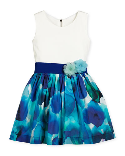 Sleeveless Watercolor A-Line Dress, Blue/White, Size 7-16