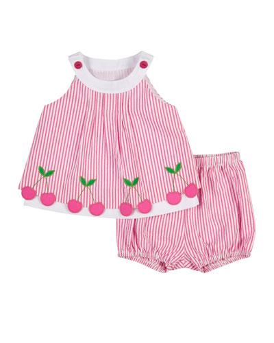 Sleeveless Cherry-Trim Striped Seersucker Dress, Pink/White, Size 3-24 Months
