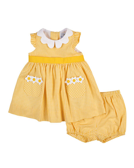 Florence Eiseman Cotton Gingham A-Line Dress, Yellow, Size 3-24 Months