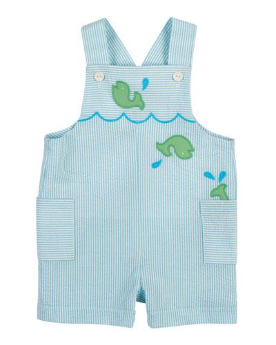 Striped Seersucker Whale Overalls, Blue/Green, Size 3-24 Months