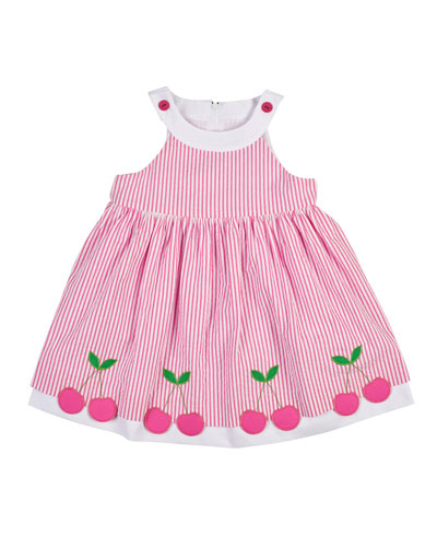 Sleeveless Cherry-Trim Striped Seersucker Dress, Pink/White, Size 2-6