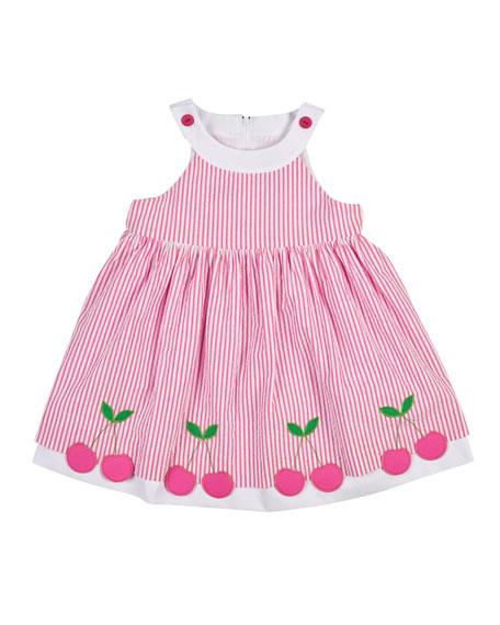 Florence Eiseman Sleeveless Cherry-Trim Striped Seersucker Dress, ...