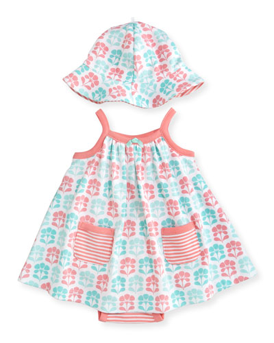 Sleeveless Cotton Floral Play Dress w/ Hat, Gray, Size 3-9 Months