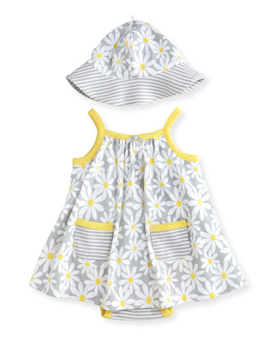 Sleeveless Cotton Daisy Play Dress w/ Hat, Gray, Size 3-9 Months