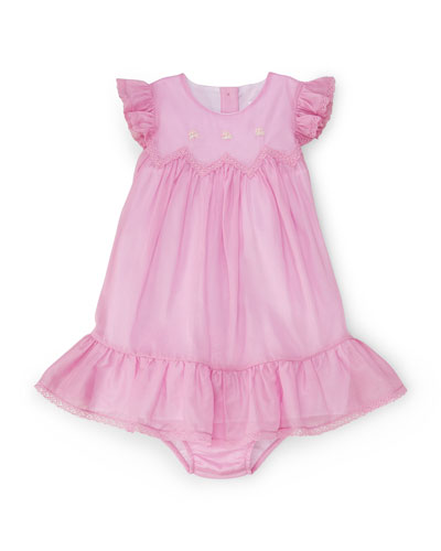 Sleeveless Cotton Voile Shift Dress w/ Bloomers, Metro Pink, Size 9-24 Months