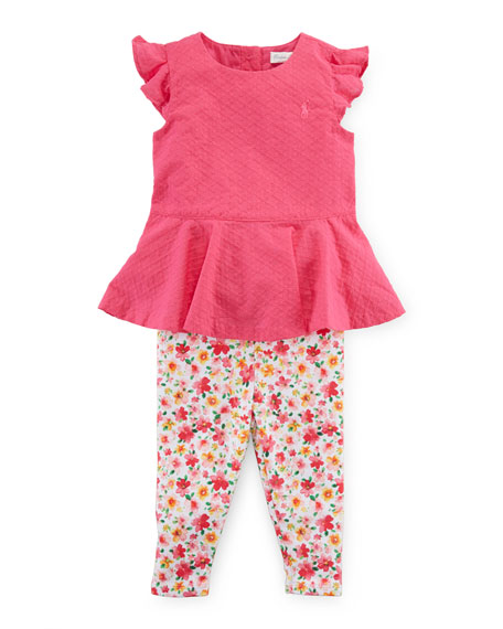 Ralph Lauren Childrenswear Cotton Twill Peplum Top w/