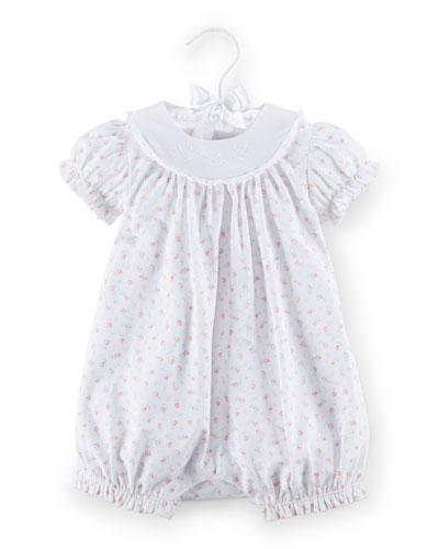 Floral Pima Bubble Playsuit, White, Size 3-18 Months