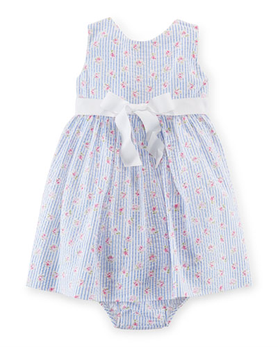 Sleeveless Printed Seersucker Dress w/ Bloomers, White/Blue, Size 9-24 Months