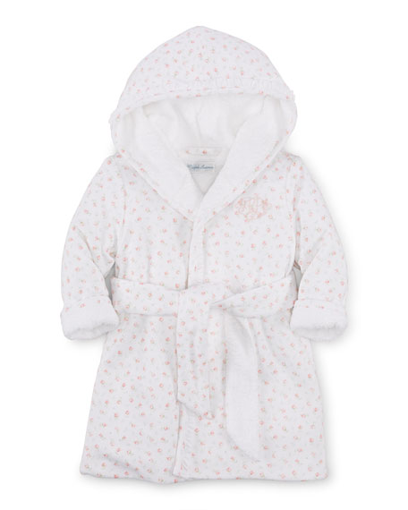 Ralph Lauren Childrenswear Hooded Floral Pima Robe, White,