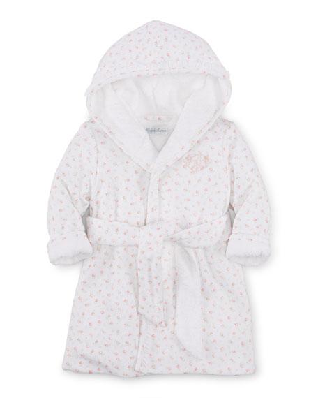 Ralph Lauren Childrenswear Hooded Floral Pima Robe, White,