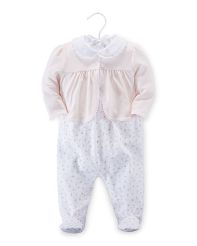 Smocked Jacket, Floral Overalls & Playsuit Layette Set, White, Size 3-9 Months