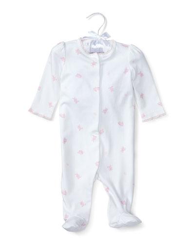 Printed Pima Footie Pajamas, Pink, Size 3-9 Months
