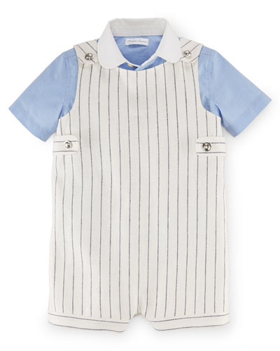 Striped Linen-Blend Overalls w/ Collared Shirt, Blue/White, Size 9-24 Months