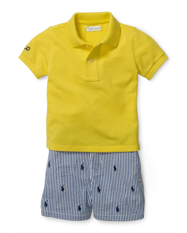 2a6a98a4e Ralph LaurenBasic Mesh Polo Shirt w/ Seersucker Shorts, Yellow, Size 9-24  Months