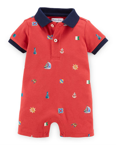 Nautical Cotton Polo Shortall, Red, Size 3-18 Months