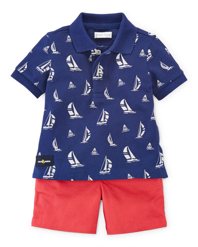 Sailboat Polo Shirt w/ Bermuda Shorts, Blue/Red, Size 9-24 Months
