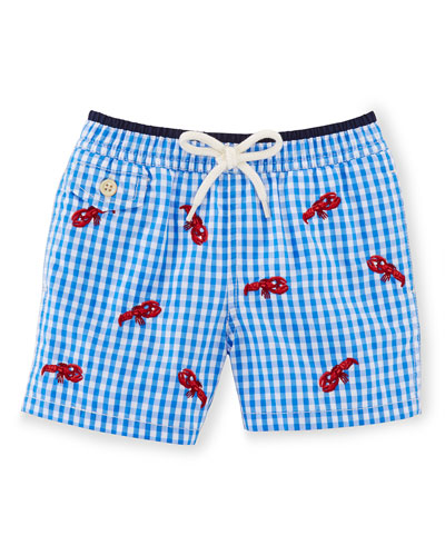 Gingham Traveler Swim Trunks, Jewel Blue, Size 9-24 Months