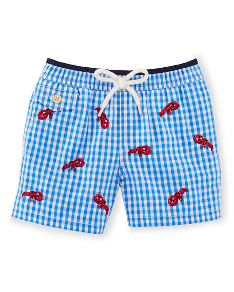 Ralph Lauren Childrenswear Gingham Traveler Swim Trunks, Jewel