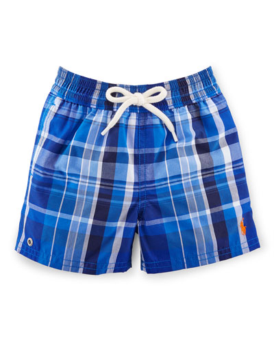 Captiva Plaid Swim Trunks, Royal, Size 9-24 Months
