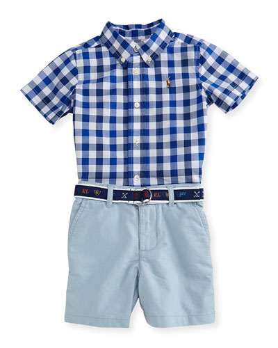 Gingham Poplin Shirt w/ Belted Shorts, Blue, Size 9-24 Months