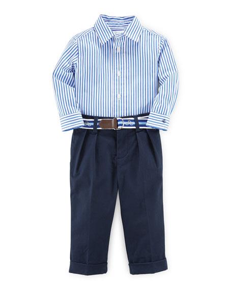Ralph Lauren Childrenswear Striped Poplin Shirt w/ Pleated
