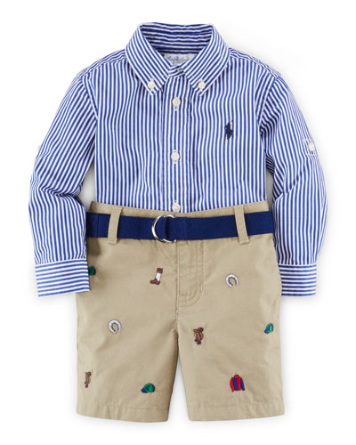 Striped Poplin Shirt w/ Embroidered Shorts, Blue/Multicolor, Size 9-24 Months