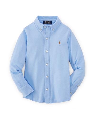 Long-Sleeve Mesh Button-Front Polo Shirt, Austin Blue, Size 2-7