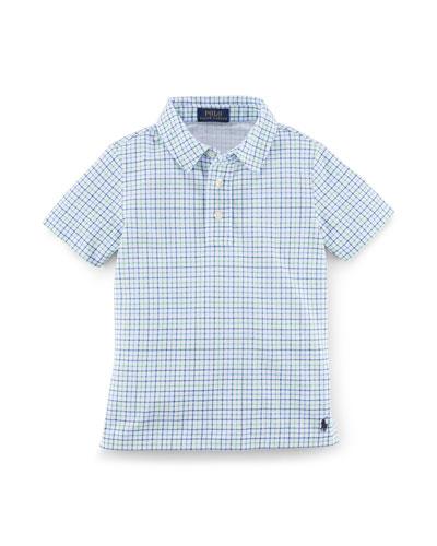 Short-Sleeve Plaid Mesh Polo, Green/Multicolor, Size 2-7