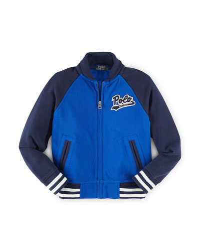 Cotton Colorblock Baseball Jacket, Cruise Royal, Size 2-7