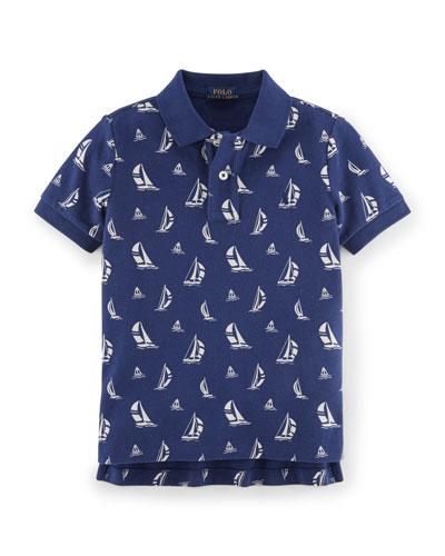 Mesh Sailboat-Print Cotton Polo Shirt, Blackwatch Sail, Size 2-7