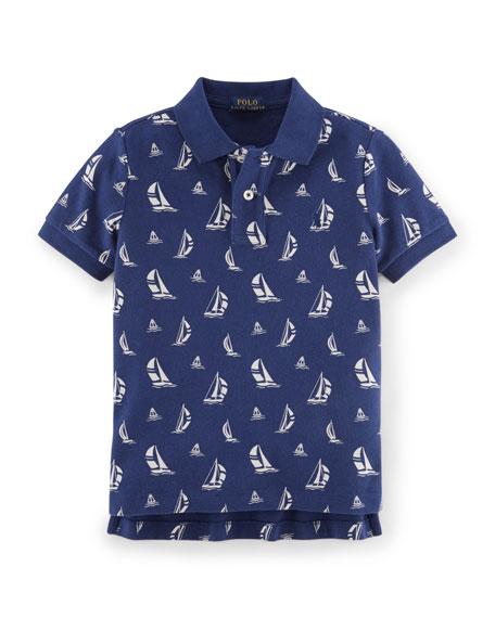Ralph Lauren Childrenswear Mesh Sailboat-Print Cotton Polo Shirt, ...