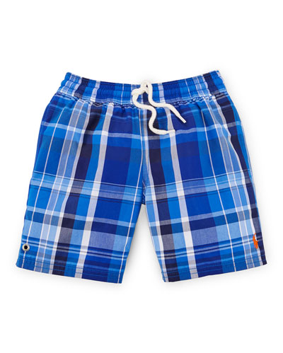 Captiva Plaid Swim Trunks, Royal, Size 2-7