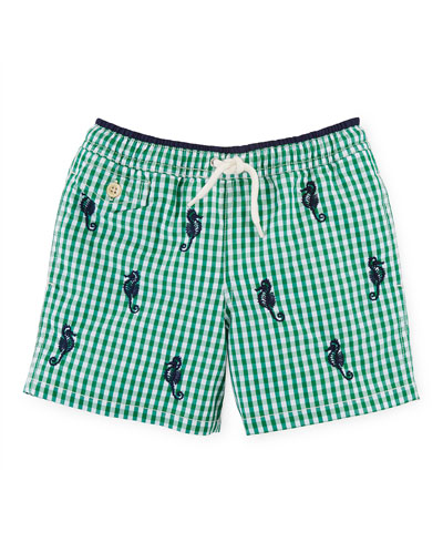 Gingham Traveler Swim Trunks, Green, Size 2-7