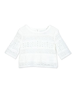 Cotton Batiste Eyelet Top, White, Size 2-6X