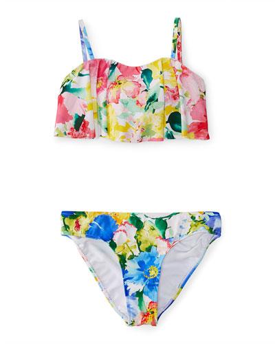 Floral Flutter Bikini, Pink, Size 8-10