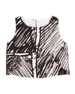 Sleeveless Scribble-Print Crop Top, Black, Size 8-14