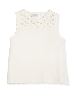 Scalloped Laser-Cut Knit Tank, White, Size 8-14